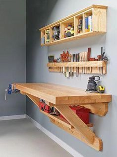 Wall mounted workbench woodsmith plans shop made tools wall mounted bench wall mounted workbench plans Carpentry Projects, Easy Woodworking Projects, Woodworking Bench, Easy Projects, Project Ideas, Diy Workbench, Popular Woodworking, Woodworking Workshop, Woodworking Basics