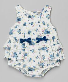 Another great find on #zulily! Blue Floral Ruffle Bubble Romper - Infant #zulilyfinds