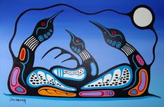 Loon clan - (Principles in Loyalty) Woodlands School, Catalogue Raisonne, Native American Paintings, Canadian Art, Native Canadian, Decorative Gourds, Woodland Art, Encaustic Painting, Acrylic Paintings