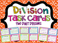 A complete set of 32 Division Task Cards with One Digit Divisors. These cards are aligned to fourth grade Common Core Standards, but are perfect for grades Teaching Activities, Math Resources, Teaching Math, Math Multiplication, Maths, Math Division, Long Division, Common Core Curriculum, Math Task Cards