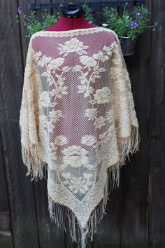Vintage 1970's Crochet Floral Shawl by pursuingandie on Etsy, $34.50