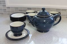 As New Boston Blue Denby Teapot, Teacups and Saucers Stoneware
