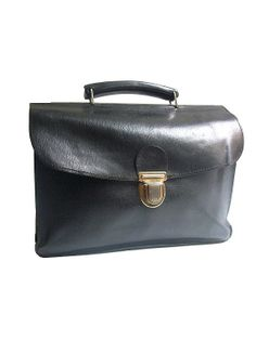 vtg SATCHEL  black leather very deep size medium by lesclodettes, $59.00