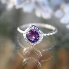 African Deep Purple Amethyst No Nickel Sterling Silver Ring, Gemstone Ring, Cushion Shape Ring, Eco Friendly Engagement Ring - Made To Order by louisagallery on Etsy