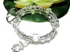 Keychain Bracelet Wristlet Crystal Memory Wire with Angel Id Holder | PinkCloudsAndAngels - Accessories on ArtFire