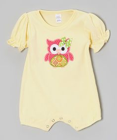 Look at this #zulilyfind! Yellow Polka Dot Owl Romper - Infant by Petunia Petals #zulilyfinds