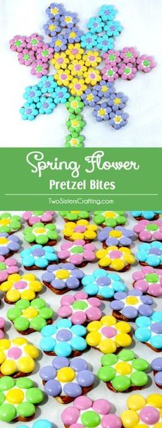 Our Spring Flower Pretzel Bites are so pretty and so easy to make. Sweet, salty, crunchy and delicious - what a great Easter Dessert. Your guest will beg for more of these colorful Easter Treats. They would also be a great homemade Mother's Day Dessert a Easter Snacks, Easter Candy, Hoppy Easter, Easter Brunch, Easter Treats, Easter Recipes, Easter Food, Easy Candy Recipes, Easy Easter Desserts