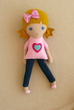 Fabric Doll Rag Doll Blond Haired Girl in Pink by rovingovine