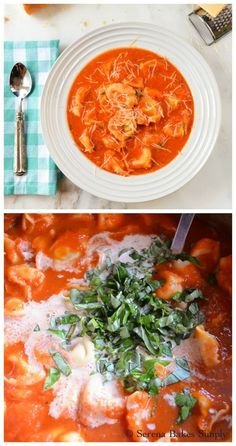 Creamy Tomato Basil Tortellini Soup an easy dinner done in under 30 minutes.