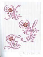 "Cross-stitch Alphabets with Flowers, part 8... no color chart use pattern chart as your guide..    Gallery.ru / moimeme1 - Альбом ""belles lettres au point de croix"""