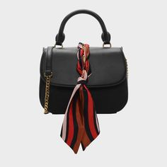 CHARLES & KEITH - Bags. Black handbag featuring scarf and chain details. Secure with a buckle closure.