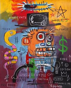 JEAN MICHEL BASQUIAT; SIGNED ON THE BACK AND DATED 85Basquiat .More Pins Like This At FOSTERGINGER @ Pinterest