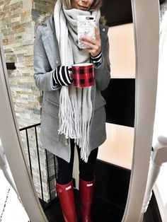 cozy winter style | shopstyle | my kind of sweet | red hunter boots | winter coat | free people scarf | fall fashion | casual outfit idea | mom style