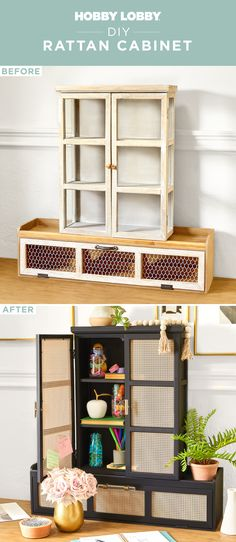 Create the popular rattan look using aluminum sheets and paint available at your Hobby Lobby®! You'll achieve a high-end look without the stress thanks to this simple DIY. Refurbished Furniture, Diy Furniture, Simple Diy, Easy Diy, Hobby Lobby, Own Home, Home Accents, Getting Organized, Home Organization