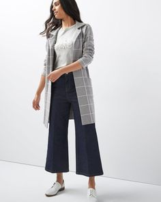 Windowpane checks give a modern appeal to this knit coat in a longline cut. Light enough to wear indoor, it also works as a transitional coat. <br /><br />Fit & Cut<br />- Straight fit<br />- 36'' body length (size M)<br /><br />Design details<br />- Windowpane knit <br />- Unlined<br />- Single button closure<br />- Pockets<br />- Notch collar Sweater Coats, Sweaters, Check Coat, Knitted Coat, Office Fashion, Selling Online, Long A Line, Mannequin, Plaid