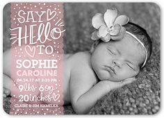 Birth Announcement: Sweetest Greeting Girl, Rounded Corners, Pink