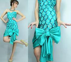 LACE Ribbon BOW Sequin Holiday Dress   Vintage by TatiTatiVintage, $128.00