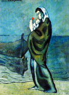 Pblo Picasso, during the Blue Period, Elio Gervasi selected. Pablo Picasso, Kunst Picasso, Art Picasso, Picasso Blue, Picasso Paintings, Dora Maar, Spanish Painters, Spanish Artists, Guernica