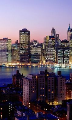 new york, skyscrapers, river, night, lights, city