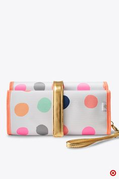 Diaper duty is brighter (and lots more convenient) when you carry the Oh Joy! Dot Changing Pad Clutch. It has handy compartments for stashing diapers, wipes and lotion, and has an easy-clean surface. Nice idea for your registry!