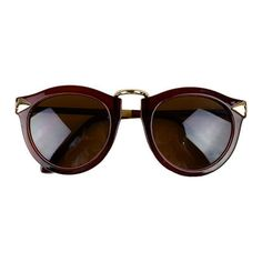 Brown Arrow Sunglasses ($15) ❤ liked on Polyvore featuring accessories, eyewear, sunglasses, glasses, óculos, brown sunglasses and brown glasses
