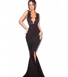 90b1a182a5 Mermaid Deep V-Neck Pleated Black Stretch Satin Prom Dress