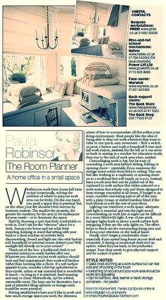 The Room Planner, Paula Robinson Rossouw's column in the Sunday Telegraph: A home office in a small space www.paularobinsonrossouw.com