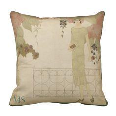 Art Deco 1920s Twenties Olive Vintage Monogram Throw Pillow - decor gifts diy home & living cyo giftidea