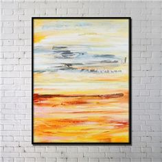 Contemporary Wall Art Marsh Abstract Print with Black Frame 36