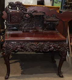 Japanese carved dragon desk from 19c
