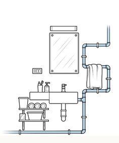 101 ideias de decoração: Quer deixar aparentes as tubulações de água no banheiro? Pinte os canos com tinta esmalte. Lixe-os antes de aplicar a primeira demão, pois a aderência melhora em superfícies desgastadas