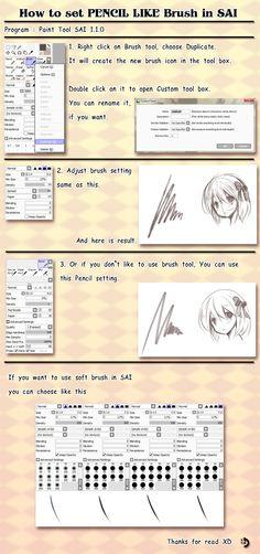 Tutorial - How to set pencil like brush in sai by ninjinshiru.deviantart.com on @deviantART