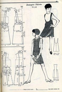 Japanese Pattern Drafting Book, Jumper Skirts by trashingdays Japanese Sewing Patterns, Free Sewing, Vintage Sewing Patterns, Clothing Patterns, Sewing Aprons, Sewing Clothes, Diy Clothes, Sewing Coat, Skirt Sewing