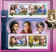 Post stamp Maldives MLD a The birth of Princess Charlotte of Cambridge (Catherine, Duchess of Cambridge, Prince William, Duke of Cambridge, Prince George of Cambridge) Princess Charlotte, Princess Diana, Bride Dolls, Duke Of Cambridge, Tv Guide, Prince William, Postage Stamps, Maldives, Monaco