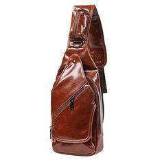 Sale 29% (28.89$) - Men Vintage Chest Bag Casual Shoulder Bag PU Leather Crossbody Bag