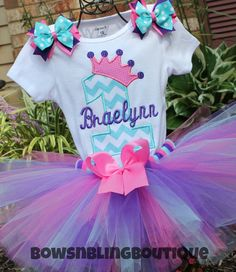 Chevron Princess Crown Embroidered Personalized Birthday Set