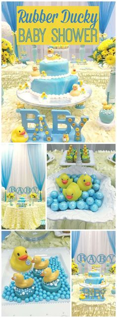 What a fun blue and  yellow rubber ducky baby shower! See more party ideas at CatchMyParty.com!