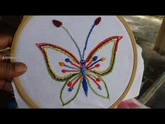 Hand Embroidery Butterfly Stitching by Amma Arts - YouTube