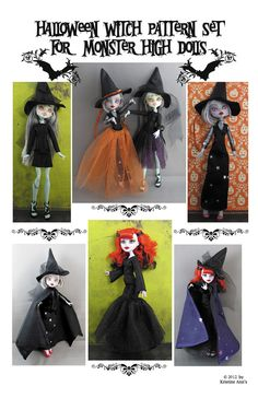 Monster High Dolls - Halloween Witch Pattern. $8.00, via Etsy. Monster High Repaint, Monster High Dolls, Halloween Doll, Halloween Outfits, Monster High Clothes, Monster High Custom, Witch Outfit, Doll Clothes Patterns, Doll Patterns