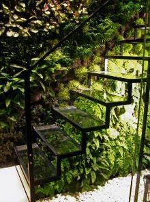 Décoration intérieure / Escalier / mur végétal / Verdure nature / Vert / plantes / original / idée inspiration / Transparent