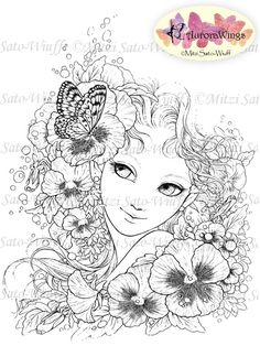 Digital Stamp  Girl with Pansy  Instant Download  by AuroraWings, $4.00