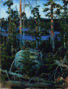 Vue sur le lac Jamajärvi, huile sur panneau de Akseli Gallen Kallela (1865-1931, Finland)