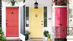 Brightly coloured front doors