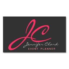 Watermelon Pink, Red, White And Gray Event Planner Business Card