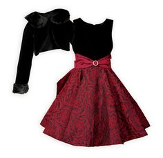 This elegant dress is perfect to wear to any holiday party. Elegant sleeveless, waisted dress has black rayon velvet bodice Toddler Outfits, Boy Outfits, Girls Special Occasion Dresses, Dresses For Tweens, Tween Girls, Skirt Fashion, Bodice, Party Dress, Roses