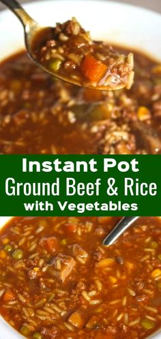 beef recipes Instant Pot Ground Beef with Rice and Vegetables is an easy gluten free dinner recipe. This pressure cooker ground beef recipe is loaded with long grain rice and frozen mixed vegetables. Ground Beef Rice, Soup With Ground Beef, Ground Beef Recipes For Dinner, Gluten Free Recipes For Dinner, Easy Dinner Recipes, Soup Recipes, Cooking Recipes, Recipes With Rice, Easy Dinner Ground Beef