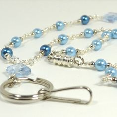 Id lanyard with silver wire wrapped blue pearls badge holder 312  | artbysunfire - Accessories on ArtFire
