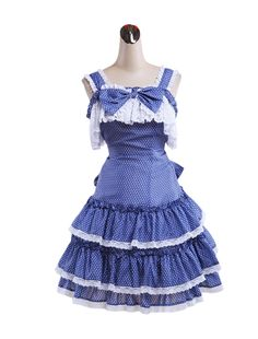 AvaLolita Blue Polka Dot Tiered Bowknot Sweet Lolita Dress, Customized