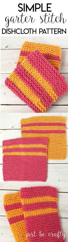 Garter Stitch Dishcloth Pattern   Free Pattern by Just Be Crafty