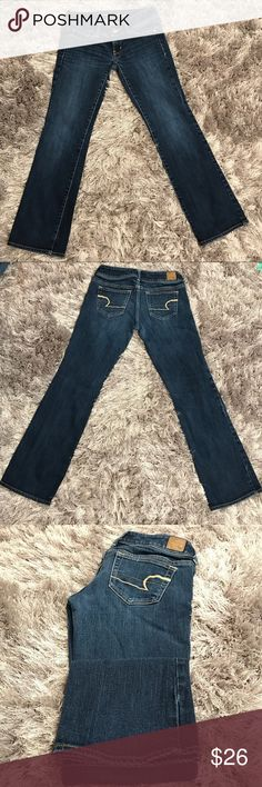 "American Eagle ""Slim Boot"" 6.25"" R 28"" L SZ 2 SHT ""Slim Boot"" jeans. Stretch. Dark wash. Slight factory fade. Slight fade at hems. 6 1/4 inch rise. 28 inch length. See all measurements in pictures. 99% Cotton. 1% Spandex. American Eagle Outfitters Jeans Boot Cut"